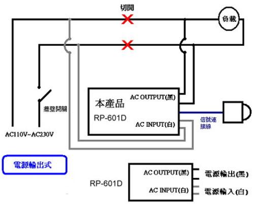 RP-601D 室外防水型雙頭紅外線感應自動開關配線範例